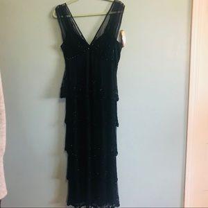 Black tiered formal dress, Size 14